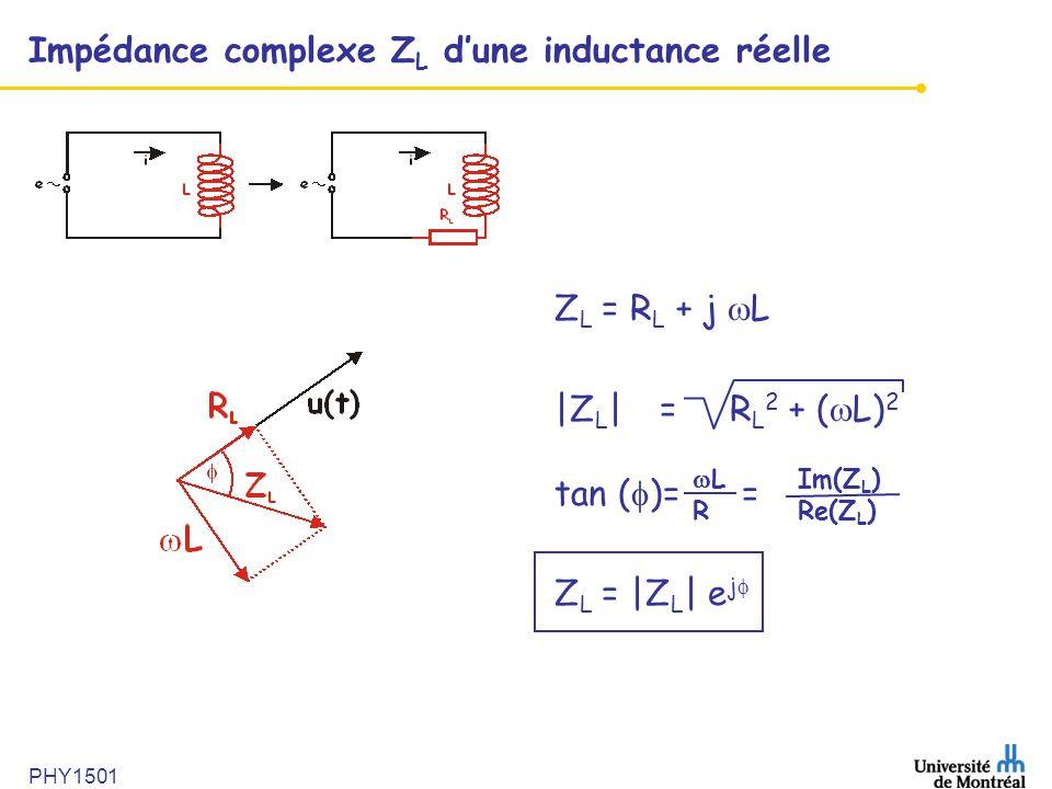Impédance complexe ZL d'une inductance réelle
