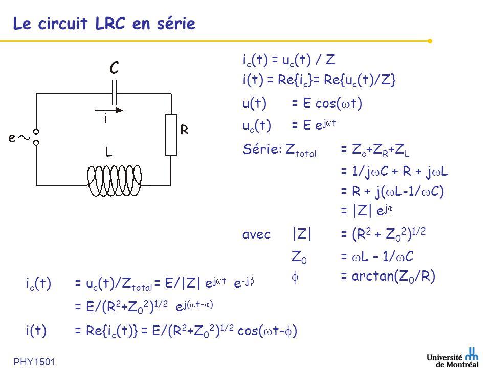 Le circuit LRC en série ic(t) = uc(t) / Z i(t) = Re{ic}= Re{uc(t)/Z}