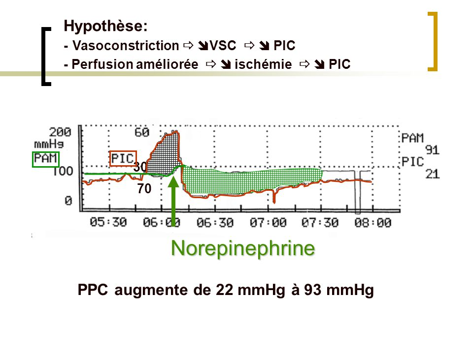 Norepinephrine Hypothèse: PPC augmente de 22 mmHg à 93 mmHg