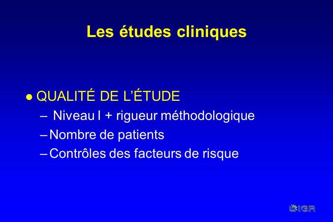 Les études cliniques QUALITÉ DE L'ÉTUDE
