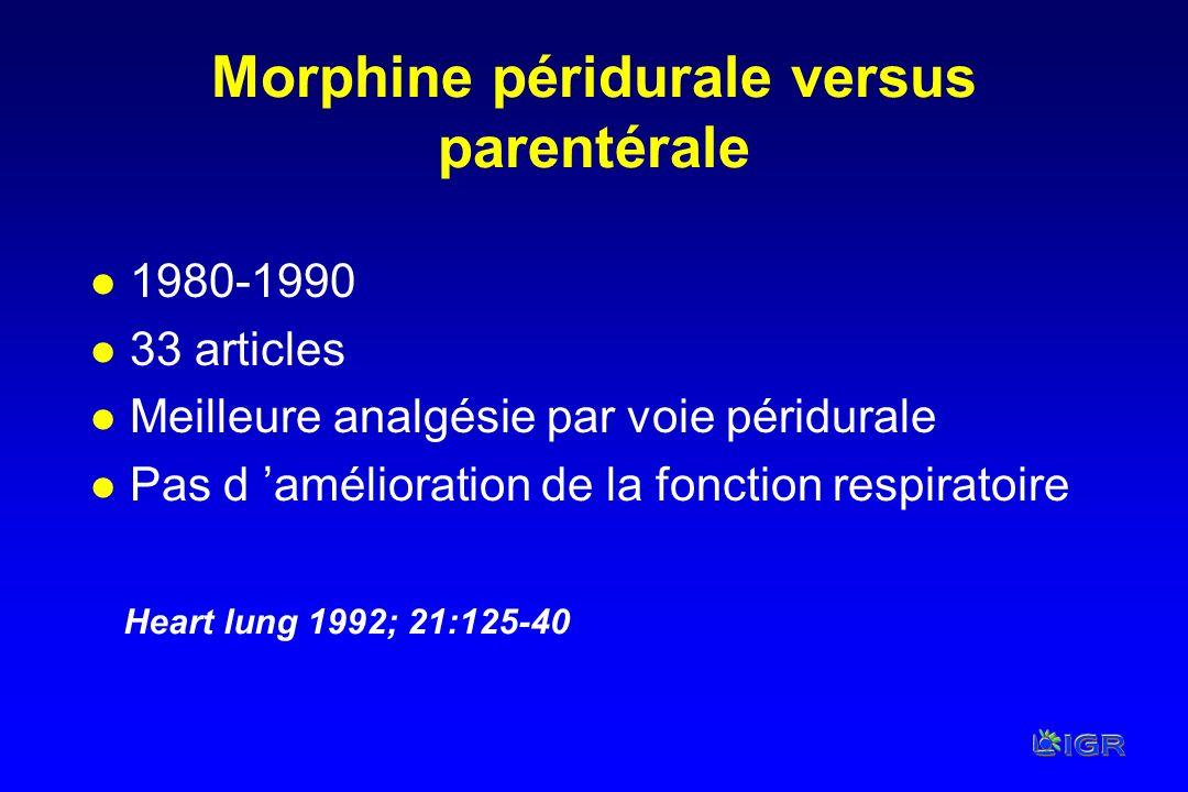 Morphine péridurale versus parentérale
