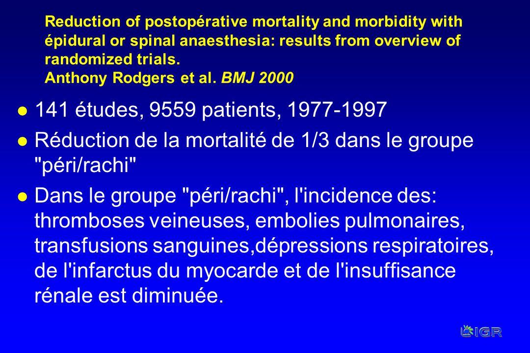 Réduction de la mortalité de 1/3 dans le groupe péri/rachi