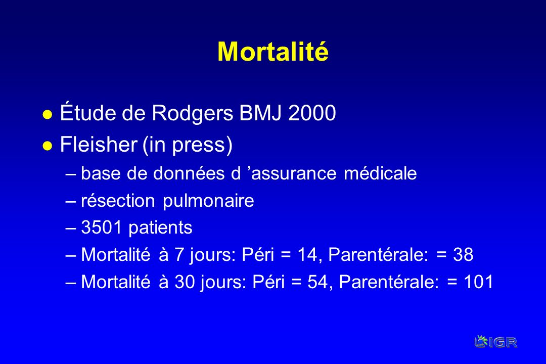 Mortalité Étude de Rodgers BMJ 2000 Fleisher (in press)