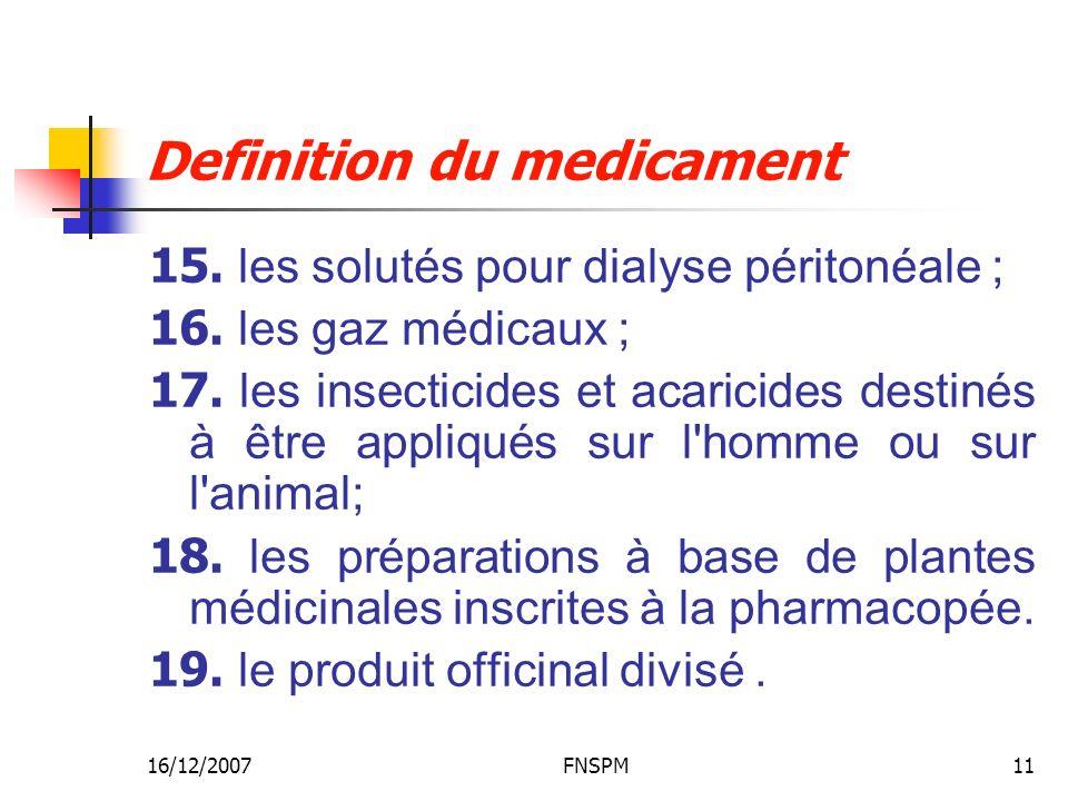 Definition du medicament