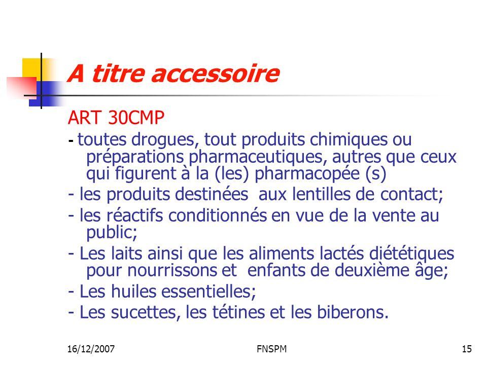 A titre accessoire ART 30CMP