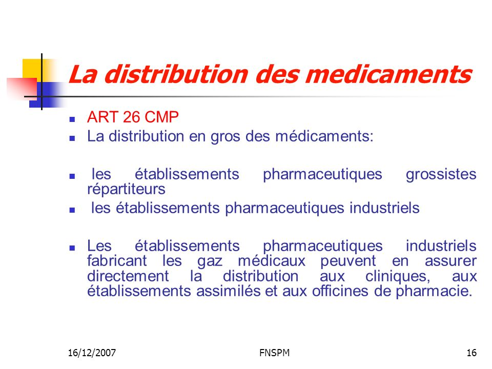 La distribution des medicaments
