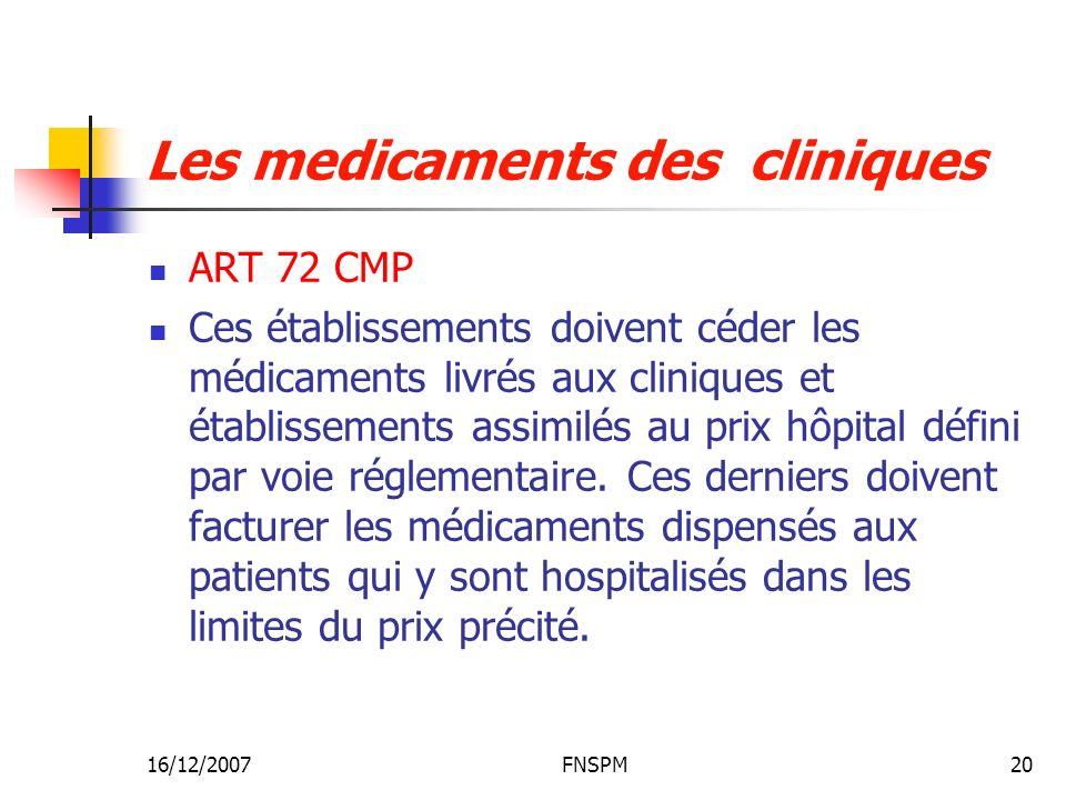 Les medicaments des cliniques