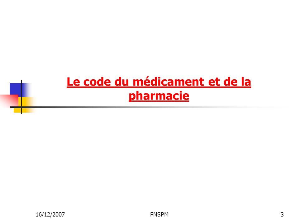 Le code du médicament et de la pharmacie