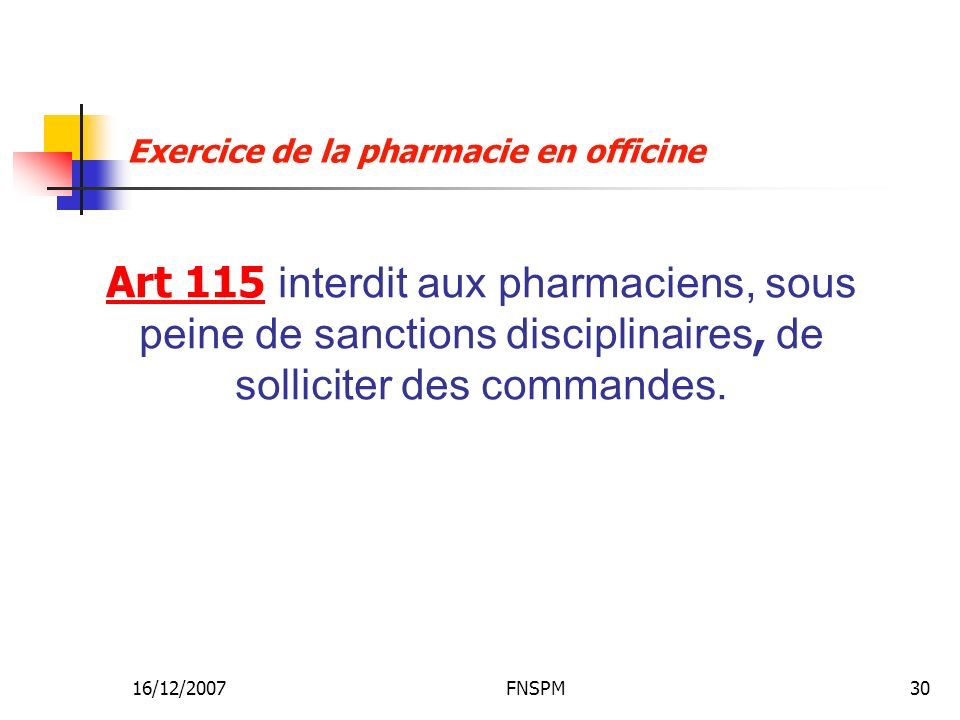 Exercice de la pharmacie en officine