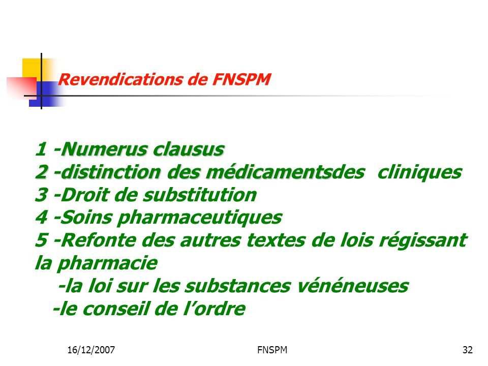Revendications de FNSPM