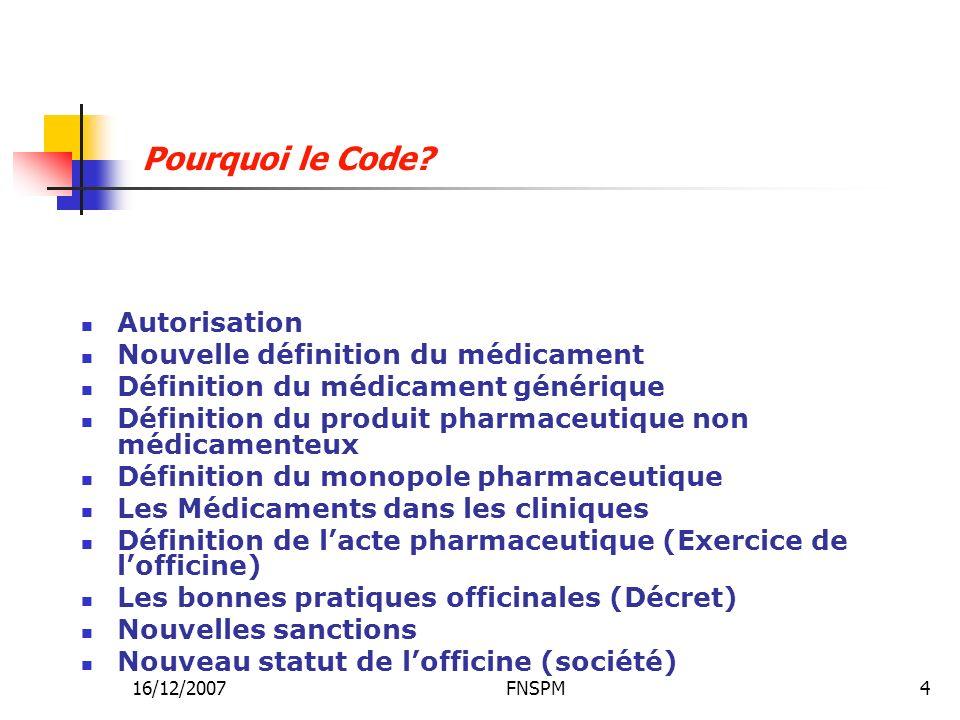 Pourquoi le Code Autorisation Nouvelle définition du médicament