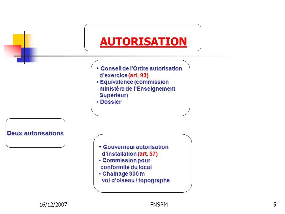 AUTORISATION Conseil de l'Ordre autorisation Deux autorisations