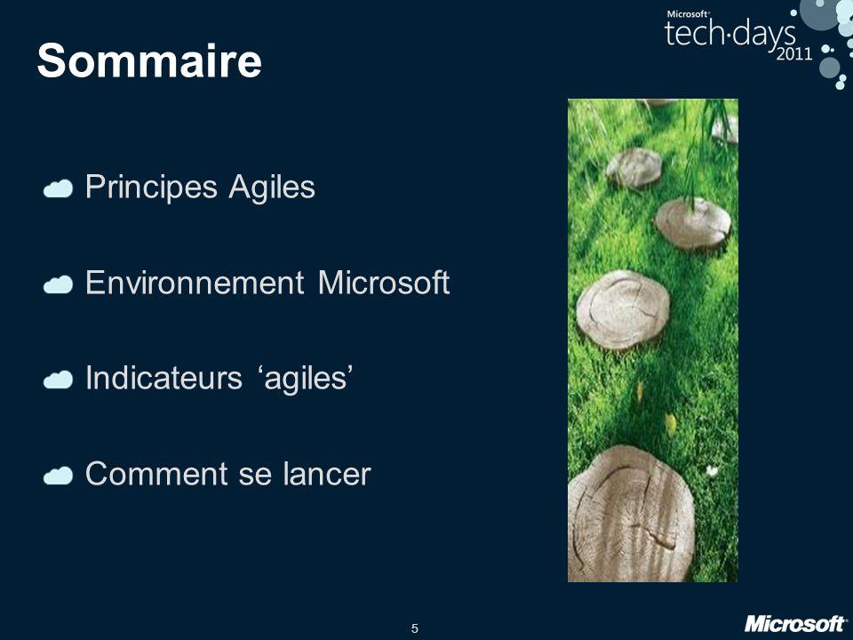 Sommaire Principes Agiles Environnement Microsoft Indicateurs 'agiles'