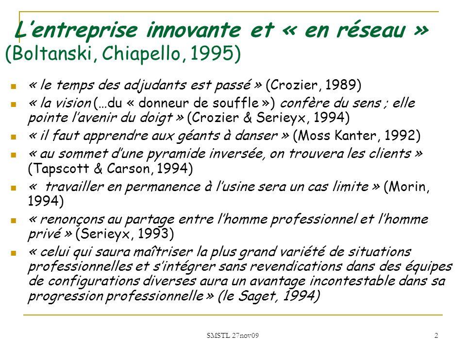 L'entreprise innovante et « en réseau » (Boltanski, Chiapello, 1995)