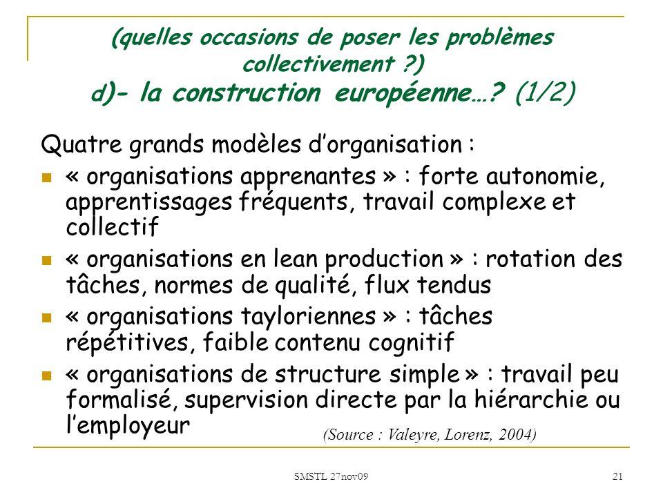 Quatre grands modèles d'organisation :