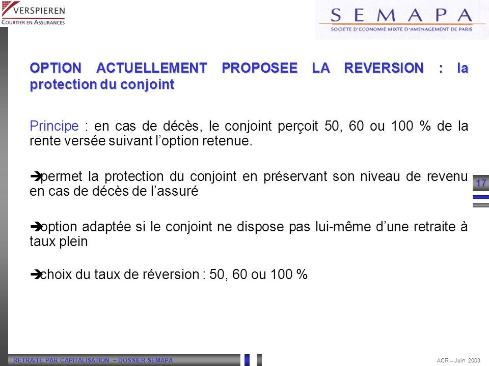 LA RETRAITE FLEXIBLE OPTION ACTUELLEMENT PROPOSEE LA REVERSION : la protection du conjoint.