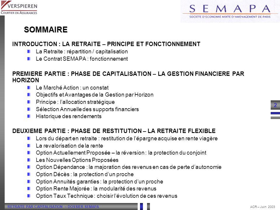 SOMMAIRE INTRODUCTION : LA RETRAITE – PRINCIPE ET FONCTIONNEMENT