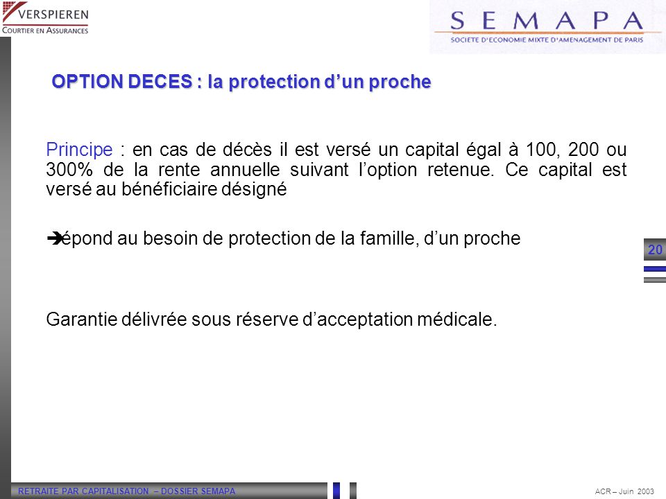 LA RETRAITE FLEXIBLE OPTION DECES : la protection d'un proche.