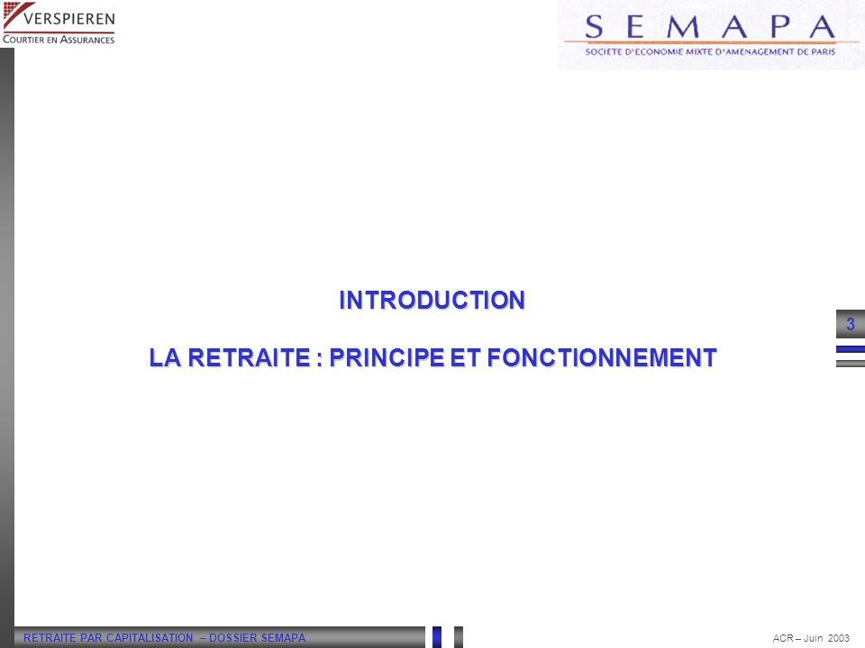 INTRODUCTION LA RETRAITE : PRINCIPE ET FONCTIONNEMENT