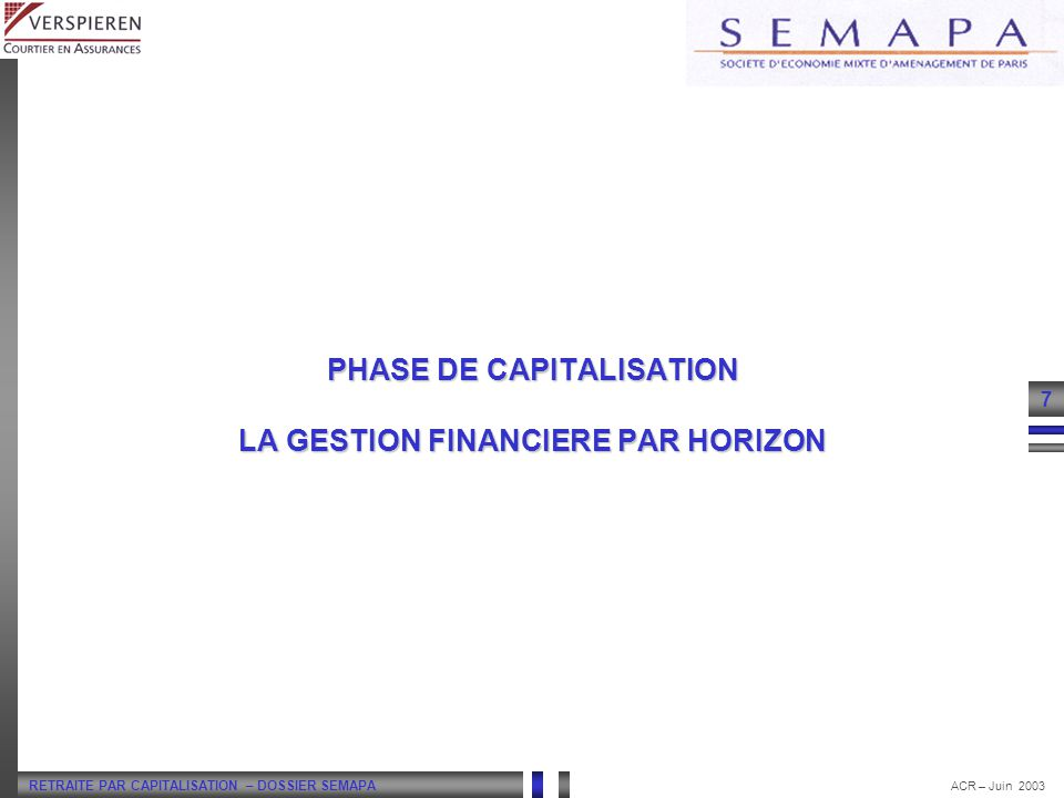PHASE DE CAPITALISATION LA GESTION FINANCIERE PAR HORIZON