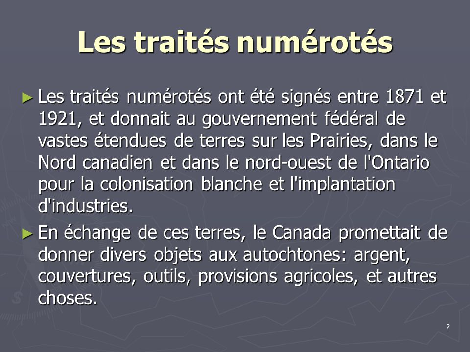 Les traités numérotés