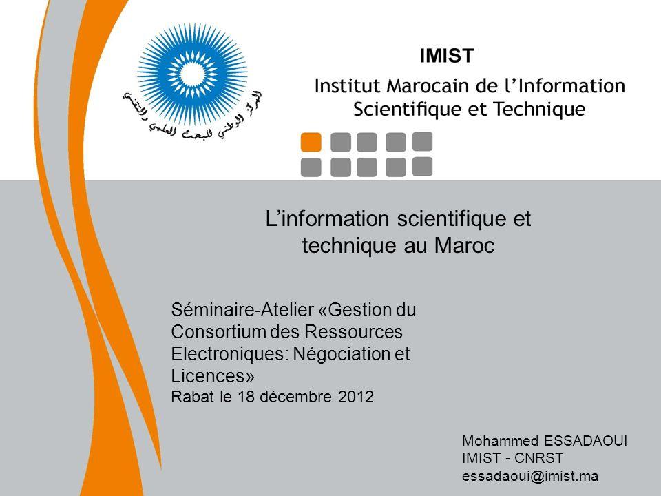L'information scientifique et technique au Maroc