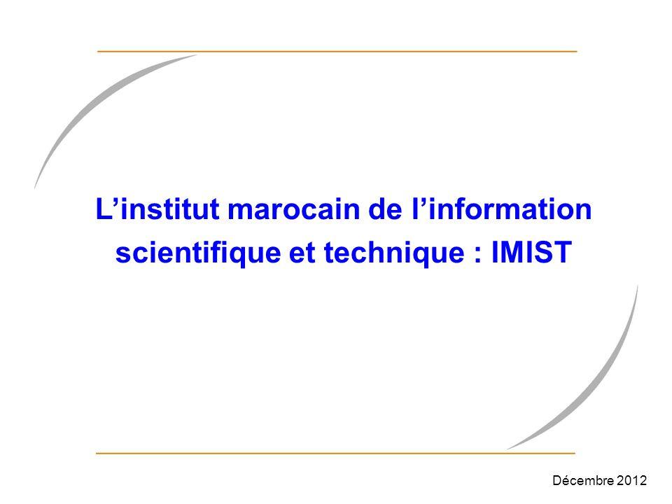 L'institut marocain de l'information scientifique et technique : IMIST