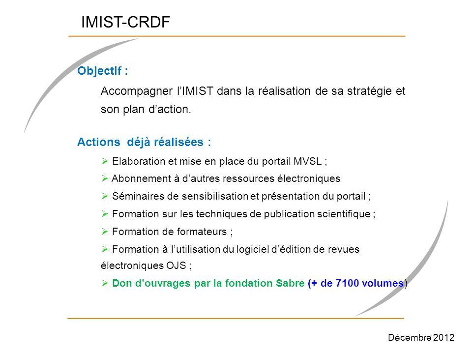 IMIST-CRDF Objectif : Accompagner l'IMIST dans la réalisation de sa stratégie et son plan d'action.