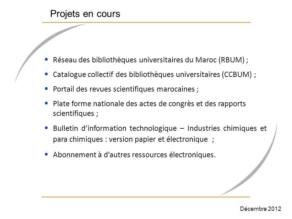 Projets en cours Réseau des bibliothèques universitaires du Maroc (RBUM) ; Catalogue collectif des bibliothèques universitaires (CCBUM) ;