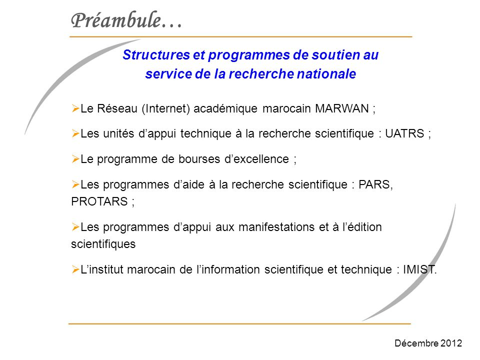 Préambule… Structures et programmes de soutien au