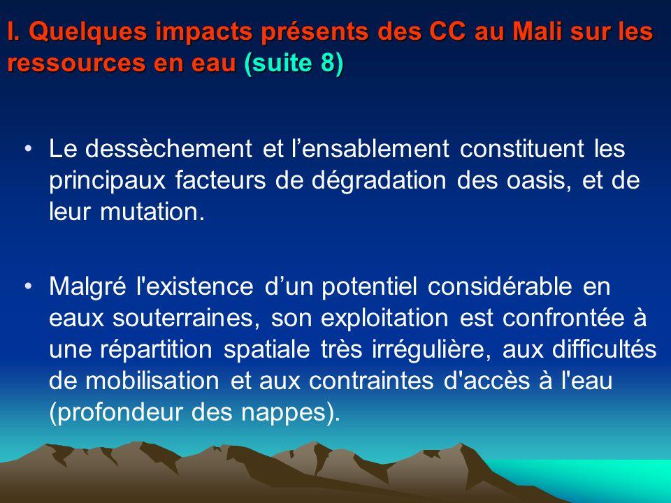 I. Quelques impacts présents des CC au Mali sur les ressources en eau (suite 8)