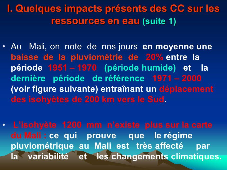 I. Quelques impacts présents des CC sur les ressources en eau (suite 1)