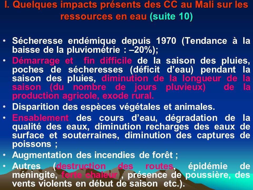 I. Quelques impacts présents des CC au Mali sur les ressources en eau (suite 10)