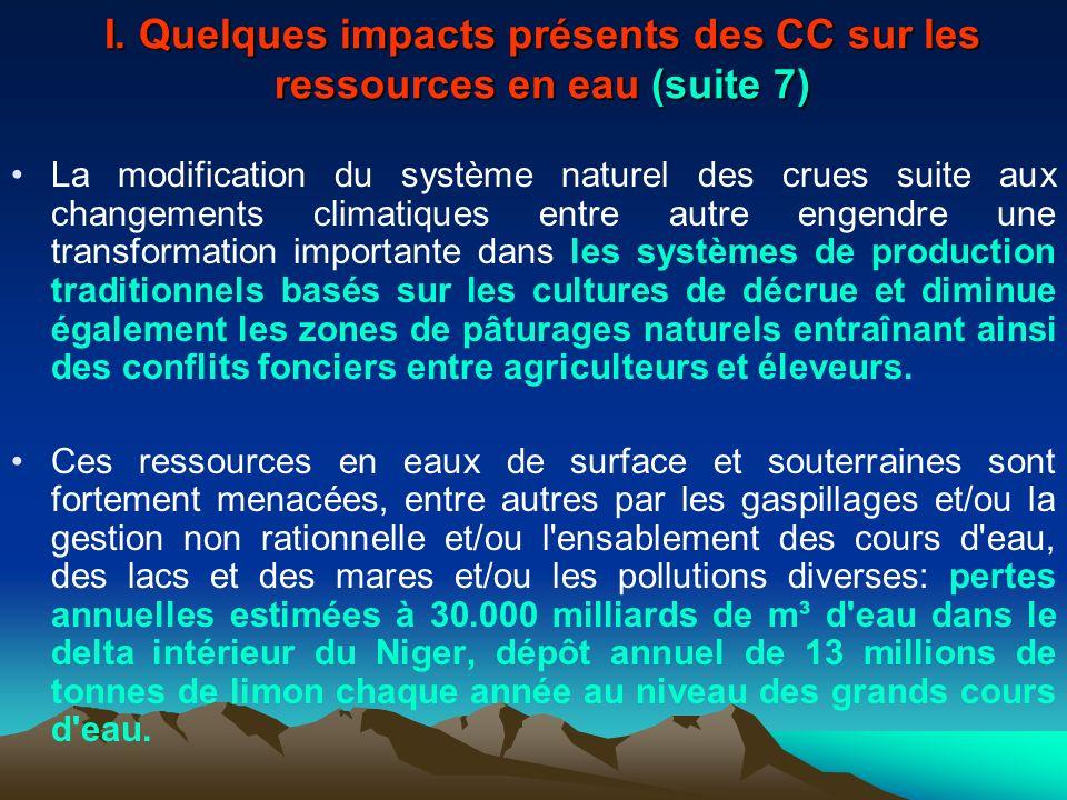 I. Quelques impacts présents des CC sur les ressources en eau (suite 7)