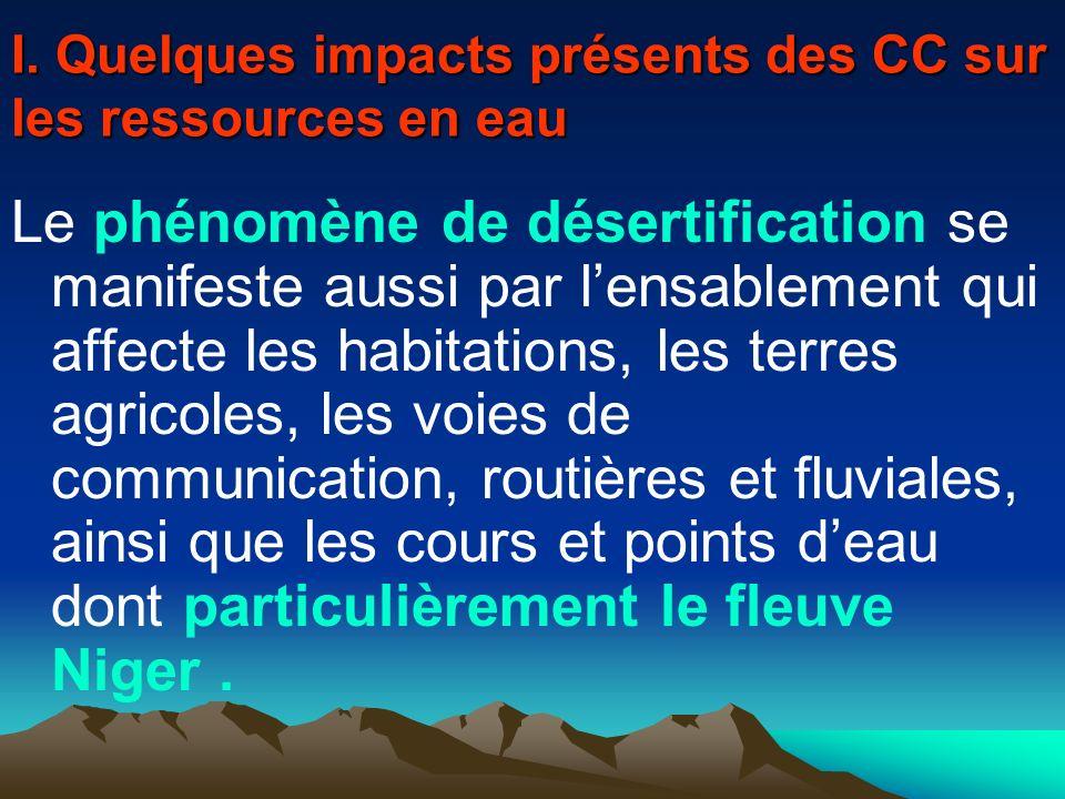 I. Quelques impacts présents des CC sur les ressources en eau