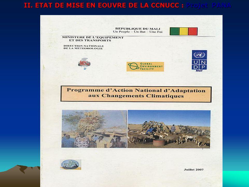 II. ETAT DE MISE EN EOUVRE DE LA CCNUCC : Projet PANA