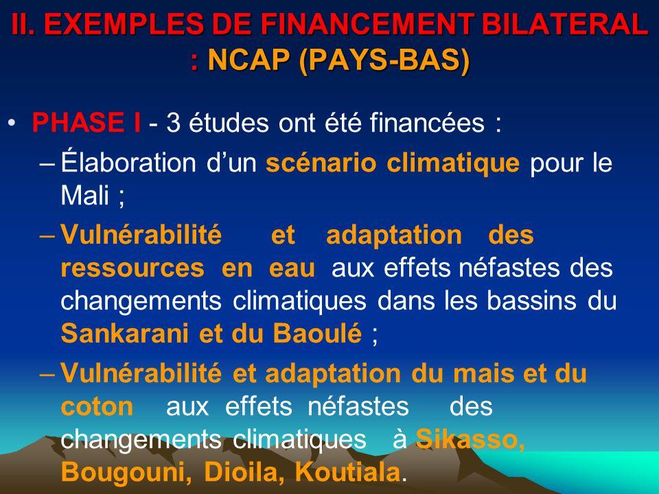 II. EXEMPLES DE FINANCEMENT BILATERAL : NCAP (PAYS-BAS)