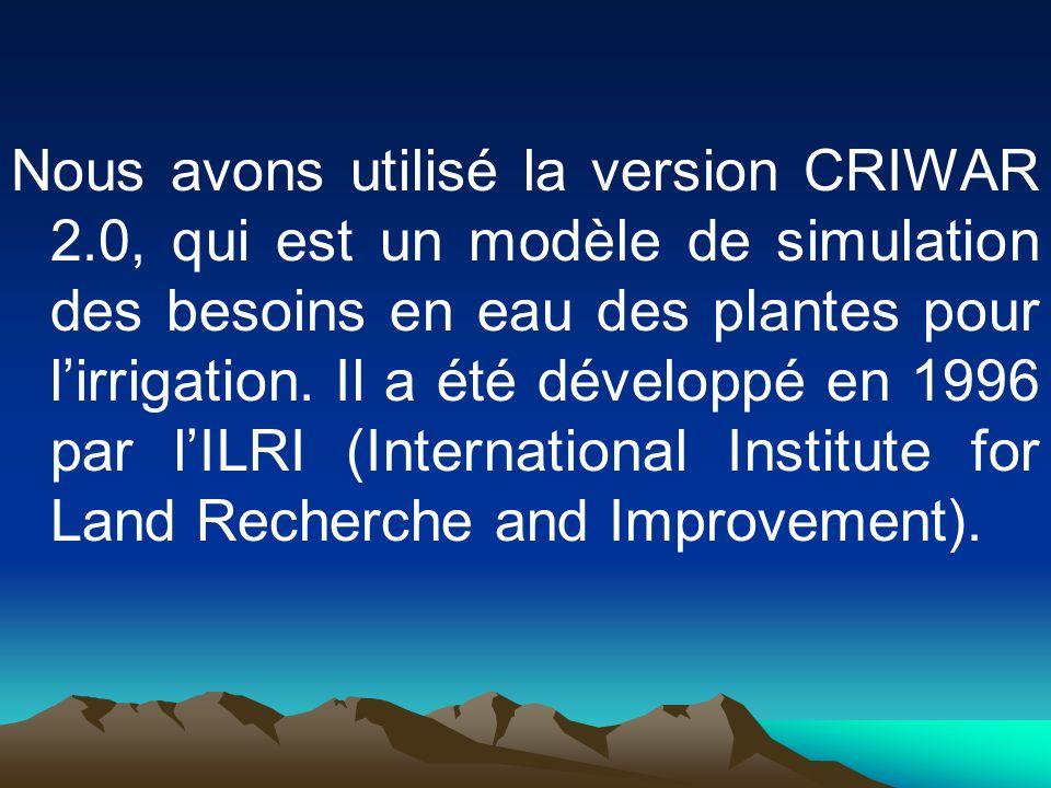 Nous avons utilisé la version CRIWAR 2