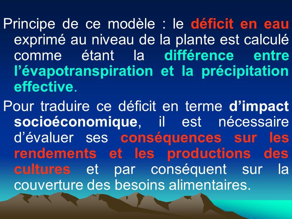 Principe de ce modèle : le déficit en eau exprimé au niveau de la plante est calculé comme étant la différence entre l'évapotranspiration et la précipitation effective.