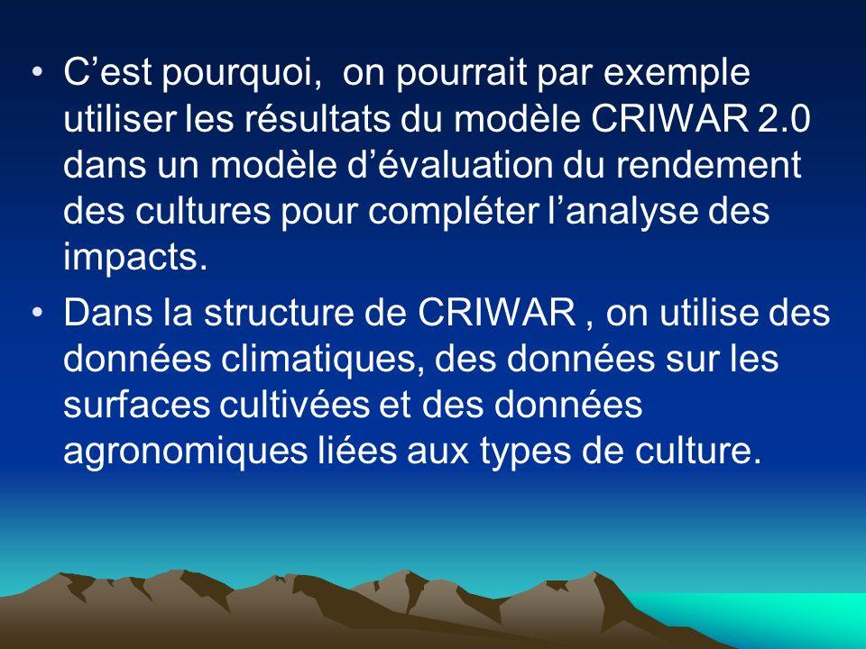 C'est pourquoi, on pourrait par exemple utiliser les résultats du modèle CRIWAR 2.0 dans un modèle d'évaluation du rendement des cultures pour compléter l'analyse des impacts.