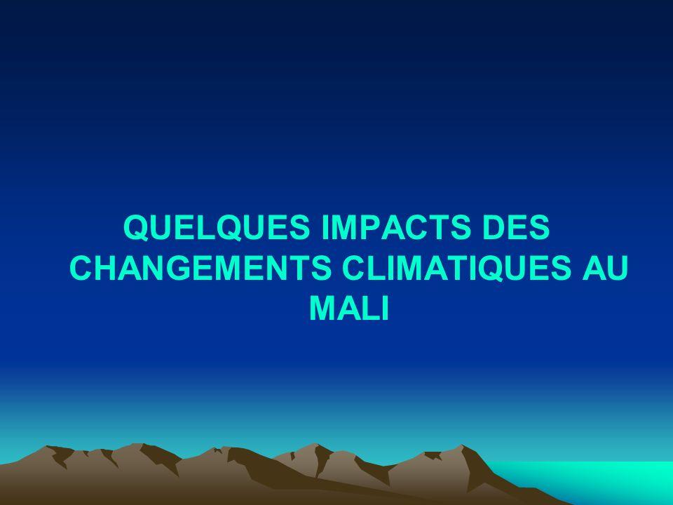 QUELQUES IMPACTS DES CHANGEMENTS CLIMATIQUES AU MALI