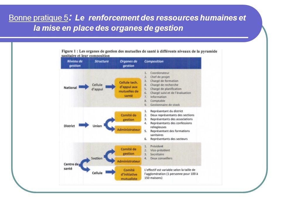 Bonne pratique 5: Le renforcement des ressources humaines et la mise en place des organes de gestion