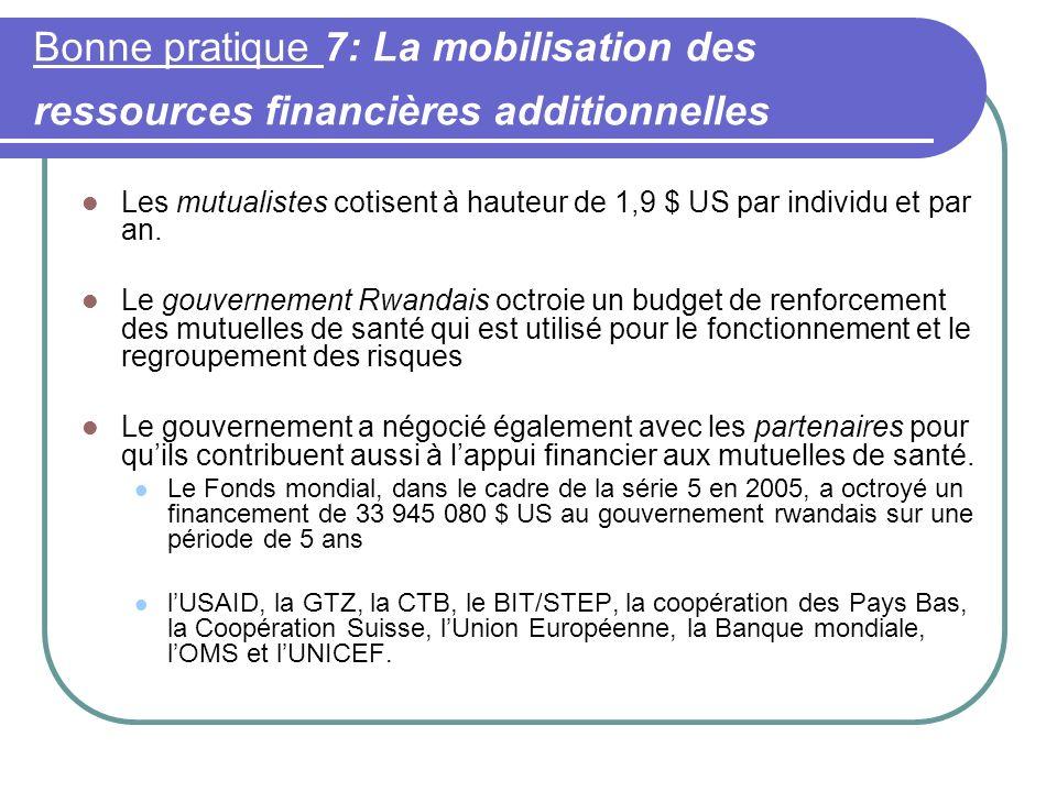 Bonne pratique 7: La mobilisation des ressources financières additionnelles