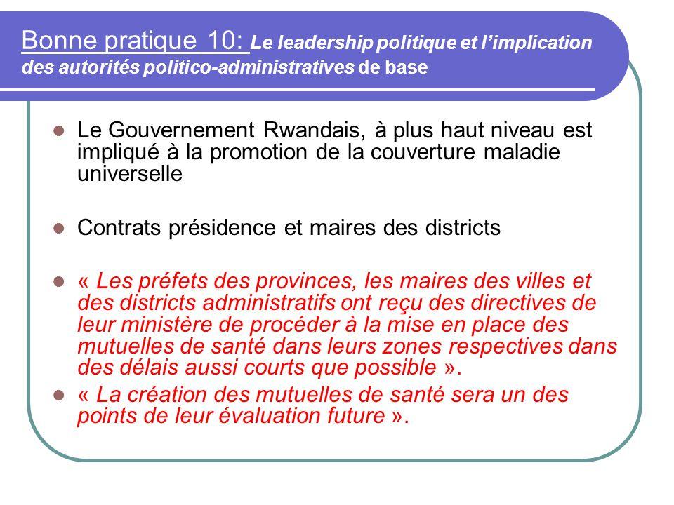 Bonne pratique 10: Le leadership politique et l'implication des autorités politico-administratives de base