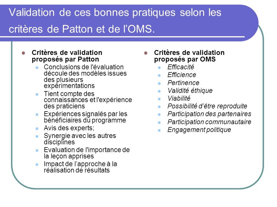 Validation de ces bonnes pratiques selon les critères de Patton et de l'OMS.