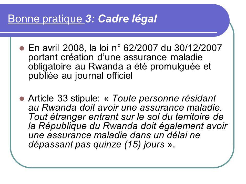Bonne pratique 3: Cadre légal