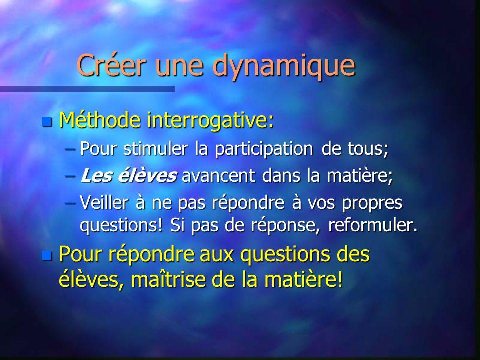Créer une dynamique Méthode interrogative: