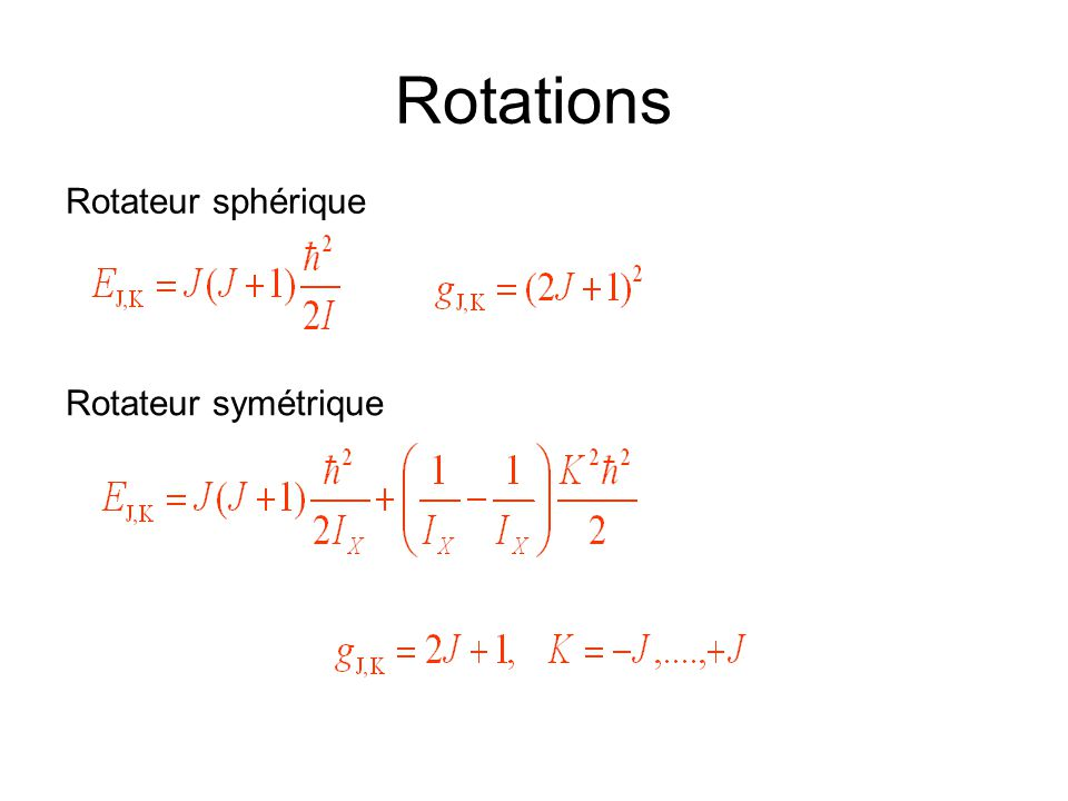 Rotations Rotateur sphérique Rotateur symétrique