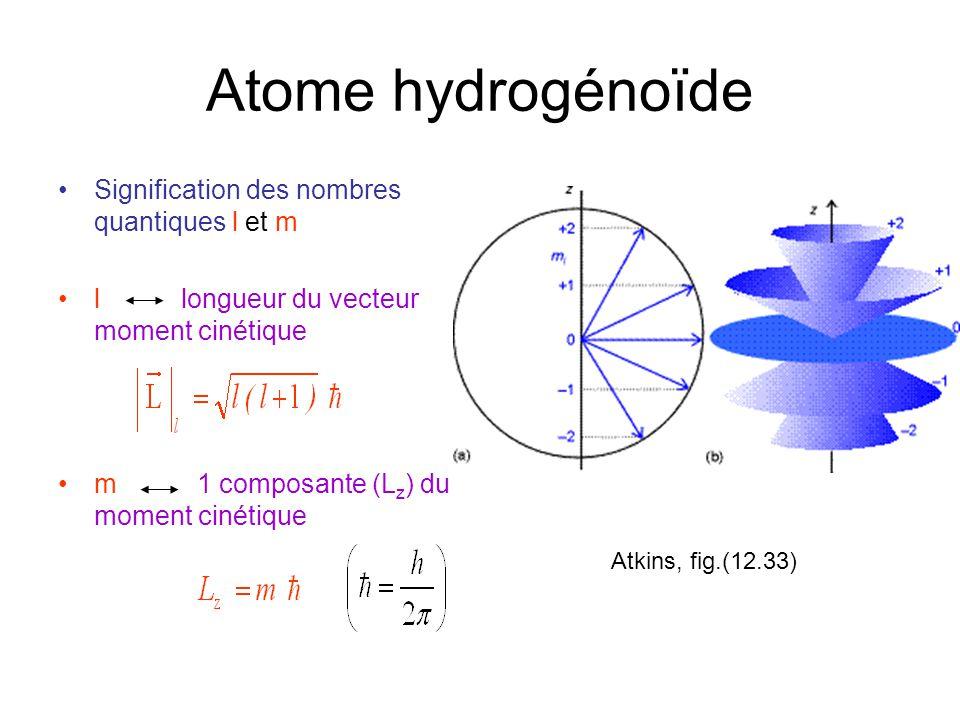 Atome hydrogénoïde Signification des nombres quantiques l et m