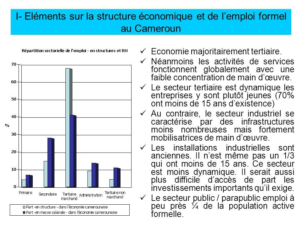 I- Eléments sur la structure économique et de l'emploi formel au Cameroun